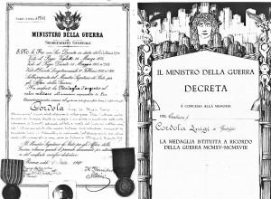 Pergamena e decreto medaglia d'argento al carabiniere Cordola Luigi