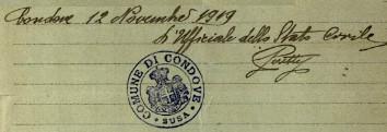 Timbro del Comune di Condove nel novembre 1919