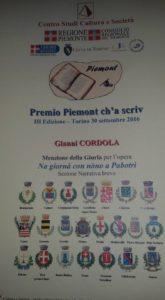 30 settembre 2016 Premiazione premio Piemont ch'a scriv 2016 - il diploma di menzione della giuria
