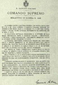 4 Novembre 1918 Bollettino della Vittoria