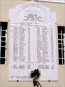 Mocchie - lapide ricordo caduti grande guerra