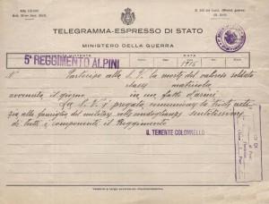 Telegramma comunicazione morte