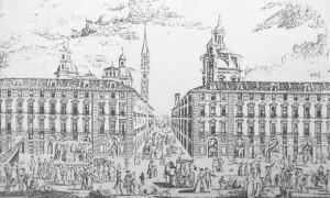 Anno 1775 - Veduta della strada di Dora Grossa dalla Piazza del Castello
