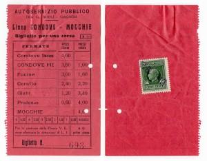 Il biglietto della corriera Condove Mocchie, la data sul bollo è 1941 (foto Roberto Cordola)