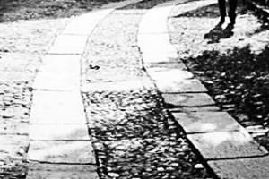 Una strada con le guide in pietra