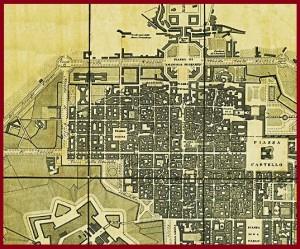 La zona del rondò della forca nella carta di Torino del 1839