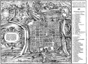 Pianta di Torino voluta da Emanuele Filiberto di Savoia e incisa su legno da Johann Krieger nel 1572 su disegno di Giovanni Carracha